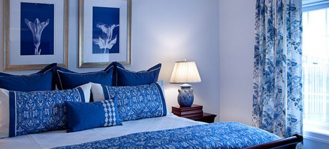Bilik Tidur Biru Kertas Dinding Langsir Perabot Dan Kombinasi Warna Yang Bergaya