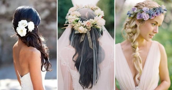Modni Vjenčani Frizeri S Cvijećem Za Dugu Srednju I